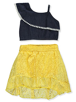 Baby Girls' 2-Piece Skirt Set Outfit by Dollhouse in dark blue and light blue