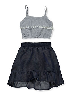 Baby Girls' 2-Piece Skirt Set Outfit by Dollhouse in dark wash and wash blue