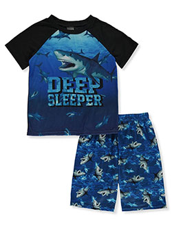 Boys' Shark 2-Piece Pajamas by Quad Seven in black and blue