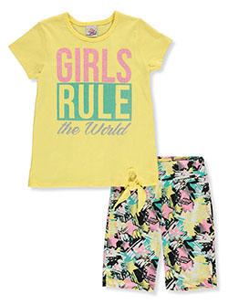 2-Piece Girls Rule Bike Shorts Set Outfit by Real Love in pink/multi and yellow multi