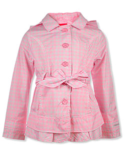 Girls' Checkered Hooded Trench Jacket by London Fog in Pink