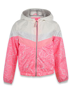 Girls' Floral Hooded Rain Jacket by London Fog in Pink