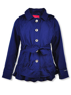 Girls' Hooded Trench Jacket by London Fog in Navy