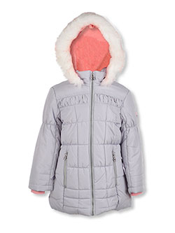 Girls' Ruched Chest Insulated Parka by London Fog in Gray