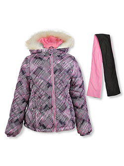Angled Baffle Insulated Parka with Scarf by London Fog in Pink