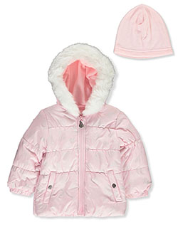 Dot Heart Insulated Jacket with Beanie by London Fog in Pink