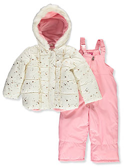 Girls' Leopard Hood Insulated Parka by London Fog in Ivory/pink, Girls Fashion