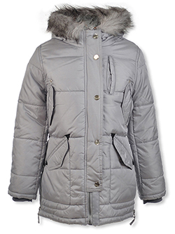 Girls' Placket Cover Insulated Parka by London Fog in gray and pink