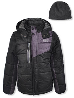 Shoulder Panel Insulated Jacket with Beanie by London Fog in black and navy