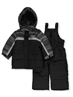 Baby Boys' Stripe Trim 2-Piece Snowsuit by London Fog in black and red, Infants