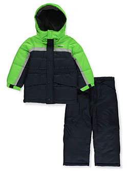 Boys' Stripe Trim 2-Piece Snowsuit by London Fog in green and red