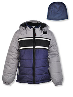 Chest Stripe Insulated Jacket with Beanie by London Fog in Navy, Boys Fashion