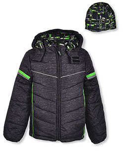 Cyber Print Insulated Jacket with Beanie by London Fog in black, blue and gray, Boys Fashion
