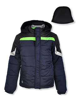 Boys' Shoulder Trim Jacket with Beanie by London Fog in blue, navy and olive, Boys Fashion