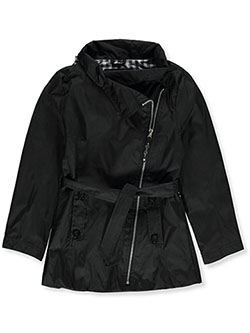 Girls' Belted Mini Trench Coat by Jessica Simpson in Black, Girls Fashion