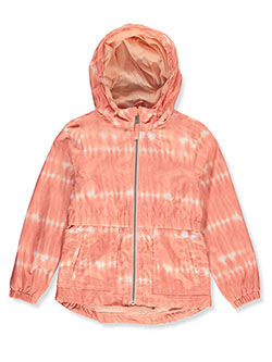 Girls' Allover Print Anorak by Jessica Simpson in coral and tiedye, Girls Fashion