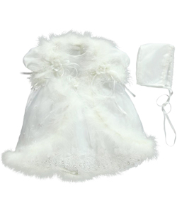 Pretty Me Baby Girls' Faux Fur Trim 3-Piece Christening Outfit - CookiesKids.com