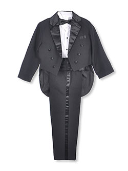 Big Boys' 5-Piece Tuxedo with Tails by Kaifer in black and white