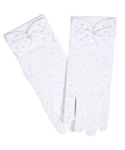 """Pearly Bow"" Gloves by The Communion Collection in White - Accessories"