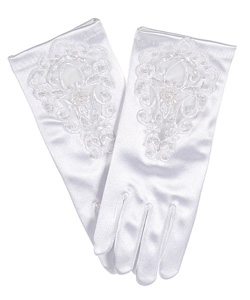 """Beads & Blossoms"" Gloves by The Communion Collection in White - Accessories"