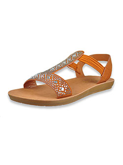 Bejeweled Flat Strap Sandals by Adrienne Vittadini in tan and white