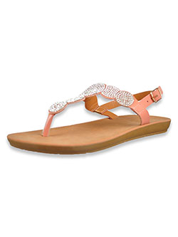 Bejeweled T-Strap Sandals by Adrienne Vittadini in blush and white
