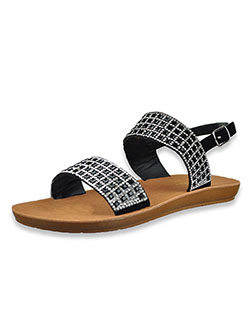 Bejeweled Flat Slide Sandals by Adrienne Vittadini in Black