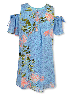Chest Pleat Cold Shoulder Dress with Necklace by Amy Byer in Blue