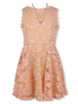 Girls' Rosette Lace Dress with Necklace by Amy Byer in Blush