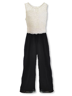 Girls' Lace Top Jumpsuit by Amy Byer in Black/white