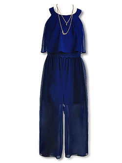 Circle Neckline Jumpsuit with Necklace by Amy Byer in Navy