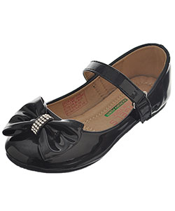 Girls' Bow-Tie Mary Janes Shoes by Angels in black and silver