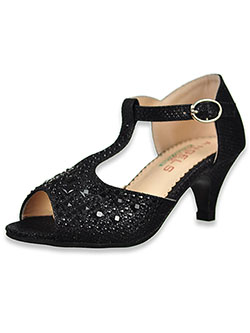 Girls' Rhinestone T-Strap Pumps by Angels in black, rose and silver - Dress Shoes