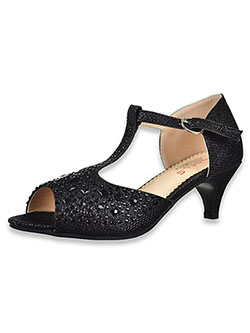 Girls' Rhinestone T-Strap Pumps by Angels in Black - Dress Shoes