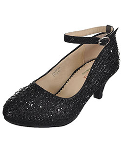 "Girls' ""Mixed Gem"" Pumps by Angels in black and silver - Dress Shoes"