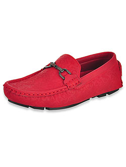 Embossed Driving Loafers by Jodano Collection in blue and red