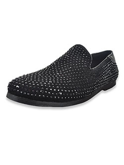 Boys' Studded Loafers by Jodano Collection in black, gold and silver - Dress Shoes
