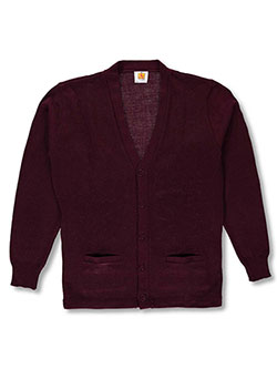 Men's Cardigan by A+ in burgundy and navy, Adult Men's Sizes