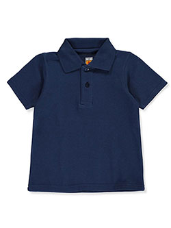 Unisex Pique Knit Polo by A+ in navy, red and white