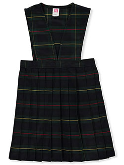 Girls' Slit Neck Jumper School Uniform by A+ in plaid #83 and plaid #91, Sizes 7-20