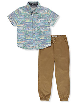 Tropical 2-Piece Joggers Set Outfit by Free Planet in Khaki, Boys Fashion