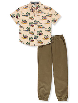 Island Scene 2-Piece Joggers Set Outfit by Free Planet in Khaki