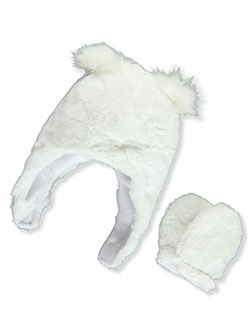 Fur to Fur Earflap Beanie & Mittens Set by Astor Accessories in Cream, Infants