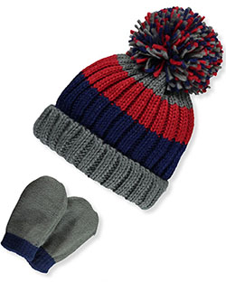 Stripe Pom Pom Beanie & Mitts Set by Astor Accessories in Gray multi, Infants