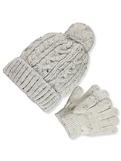 Cable Knit Beanie & Gloves Set by Astor Accessories in Multi