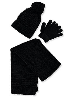 Shimmer Knit 3-Piece Winter Accessories Set by Astor Accessories in Black/multi, Girls Fashion