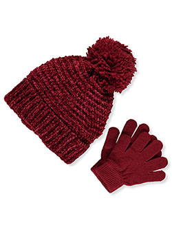 Shimmer Knit Beanie & Gloves Set by Astor Accessories in Red/multi