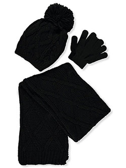 Lattice Knit 3-Piece Winter Accessories Set by Astor Accessories in Black/multi