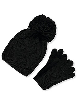 Lattice Knit Beanie & Gloves Set by Astor Accessories in Black/multi