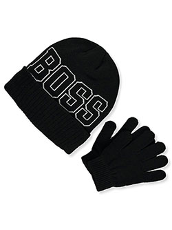 Boys' Boss Beanie & Gloves Set by Astor Accessories in Multi